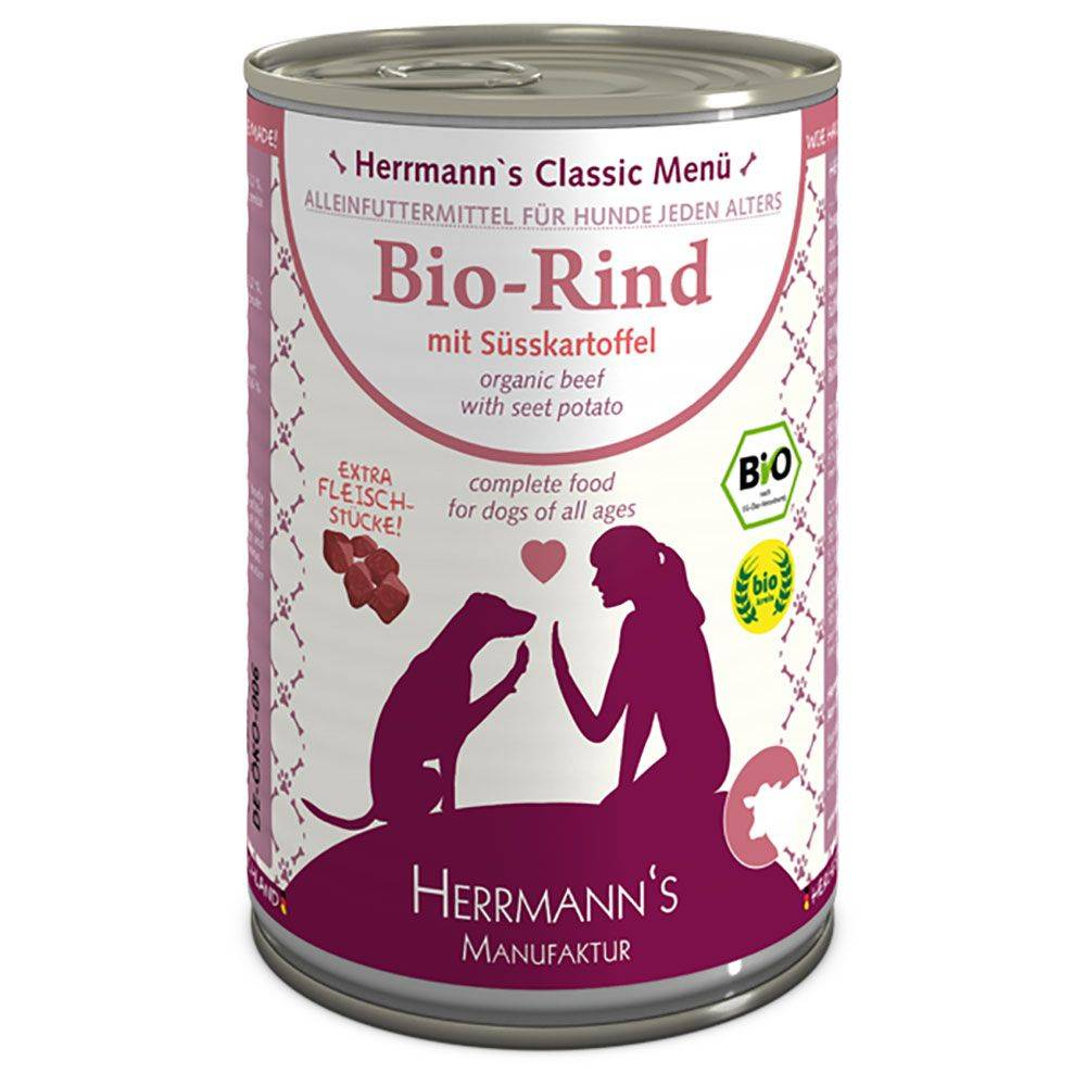 Herrmanns 24x400g Menu sans céréales bœuf bio, patates douces bios, potiron bio...