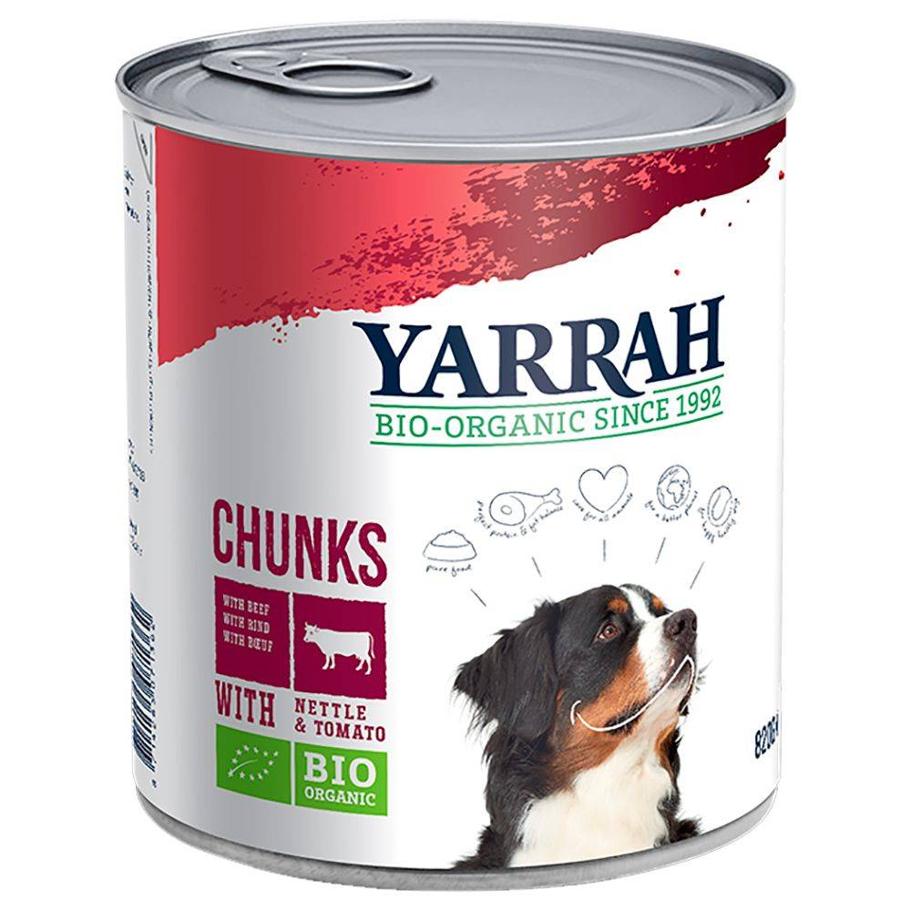 Yarrah 6x820g Bio Chunks poulet, bœuf, orties, tomates Yarrah - Pâtées pour...