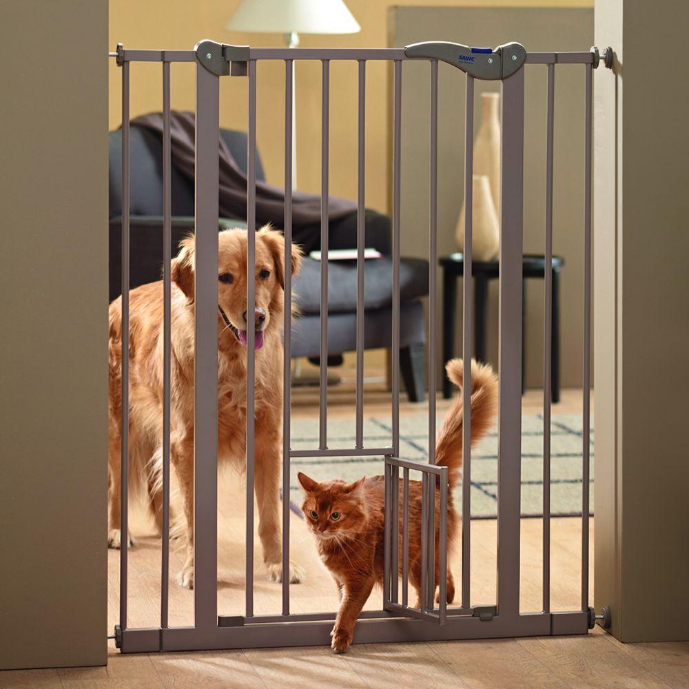 savic 84 x H 107 cm Barrière Dog Barrier 2 avec chatière - Taille L : L 75...