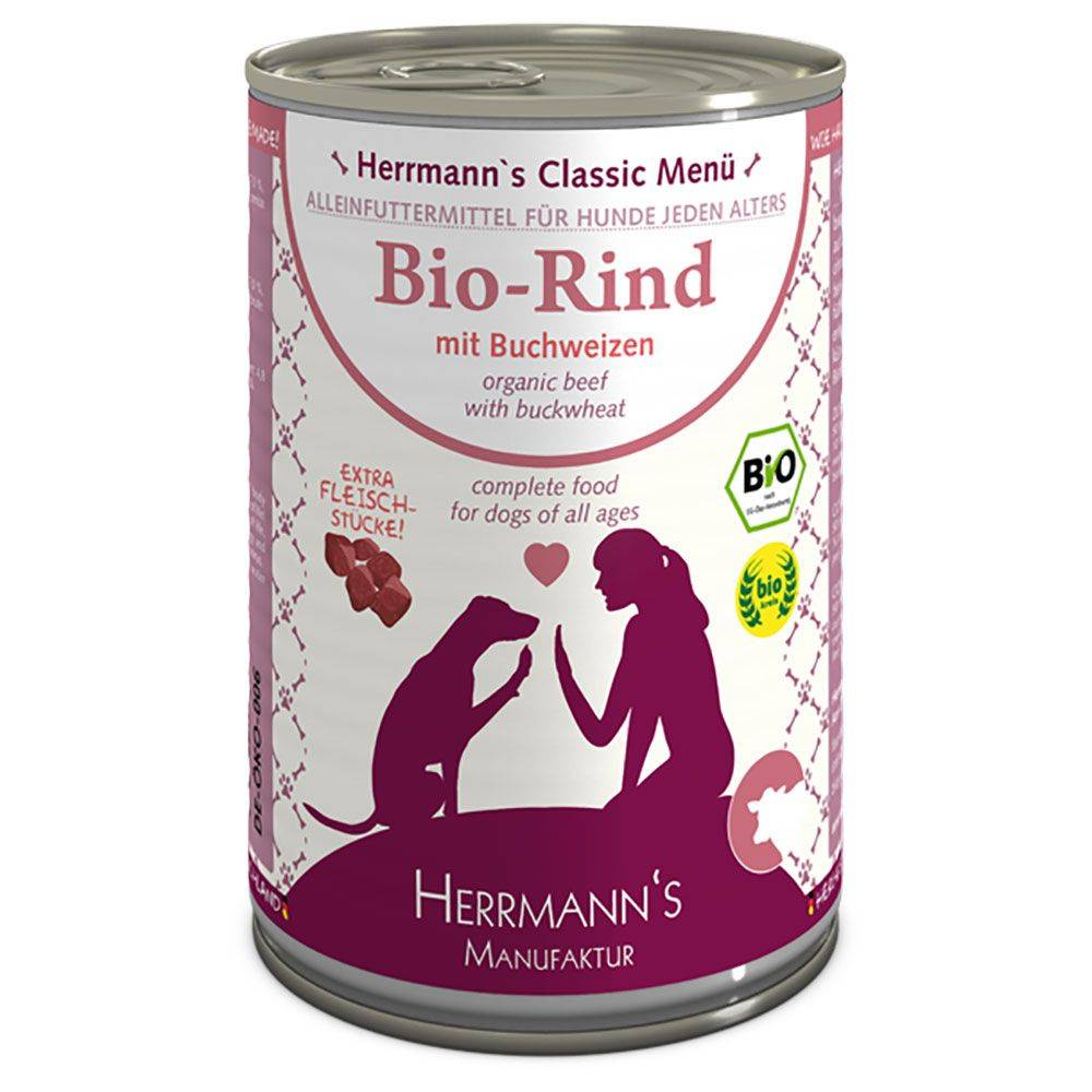 Herrmanns Menu 6 x 400 g - bœuf bio, sarrasin bio, fruits bios