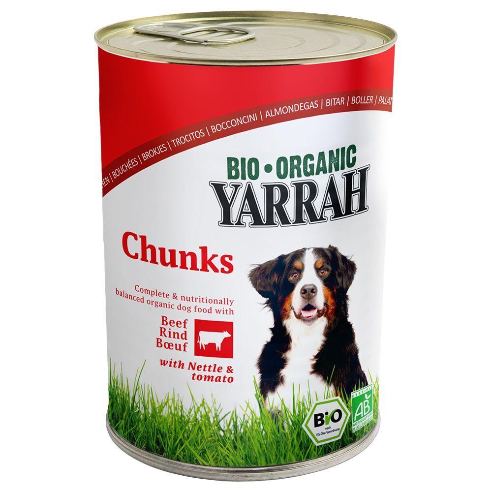 Yarrah Bio Chunks poulet, bœuf, orties, tomates - 6 x 405 g