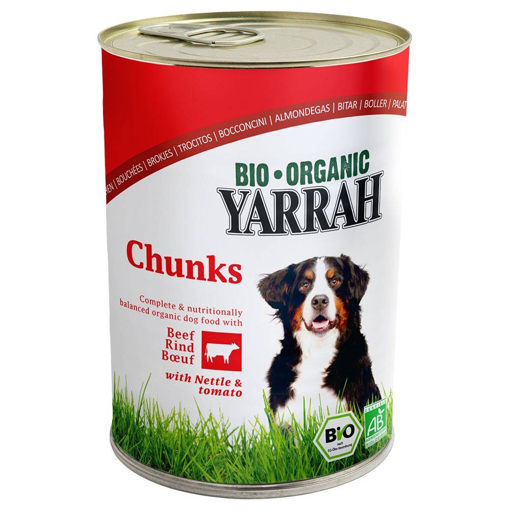 Yarrah Bio Chunks poulet, bœuf, orties, tomates - 6 x 820 g