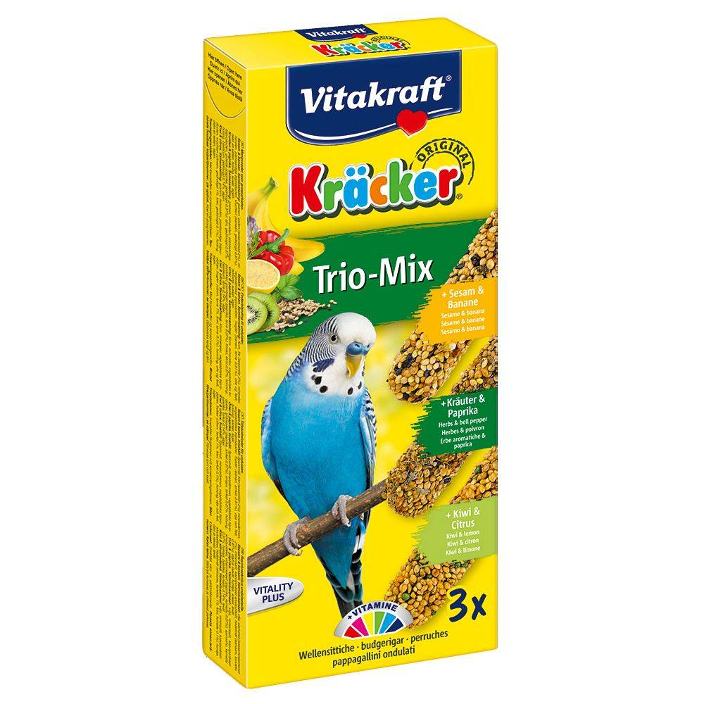 Vitakraft 2 x 3 friandises Trio-Mix Krackers, perruche, sésame, herbes & kiwi...