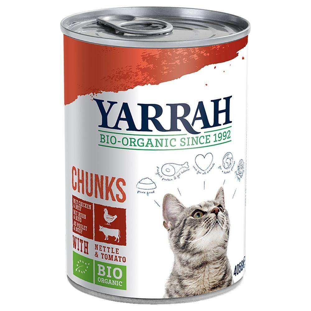 Yarrah 6x405g Yarrah Chunks poulet bio, bœuf bio, orties bio, tomates bio en...