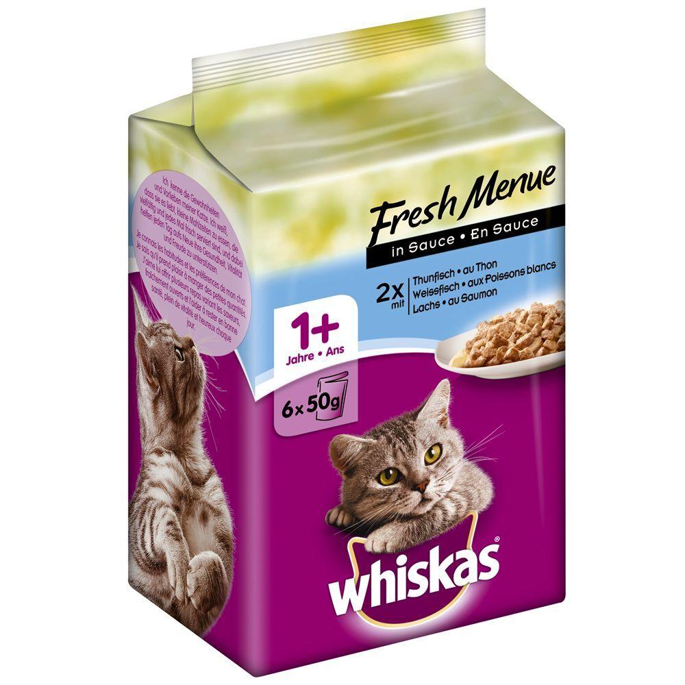 Whiskas 72x50g Whiskas Fresh Menue (Les p'tits plats) - poulet, dinde,...