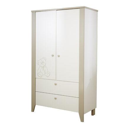 Maisonetstyles Armoire 2 portes 1 étagère, 1 penderie - coloris blanc