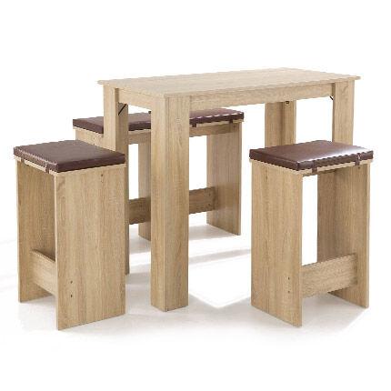 Maisonetstyles Table de bar + 4  tabourets en bois naturel coussins chocolat