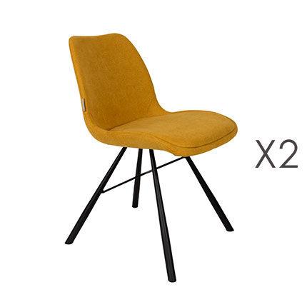 Maisonetstyles Lot de 2 chaises repas en tissu moutarde - BRENT