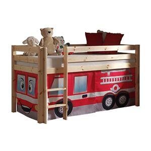 Maisonetstyles Lit surélevé 90x200 cm avec échelle naturel décor pompier - PIN - Publicité