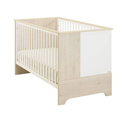Maisonetstyles Lit bébé évolutif 70x140 cm en pin blanchi et blanc - BYRON