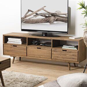 Maisonetstyles Meuble TV 3 tiroirs 165x40x60 cm en sapin - BORLO - Publicité