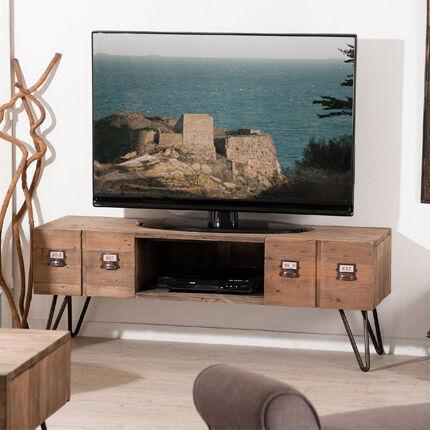 Maisonetstyles Meuble TV 2 tiroirs en pin et métal - INDUSTRIEL