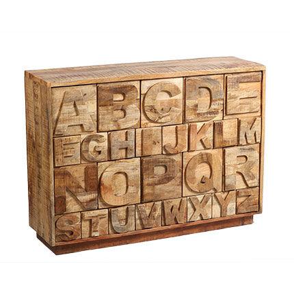 Maisonetstyles Buffet 26 tiroirs 128x40x80 cm en bois massif décor alphabet