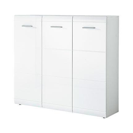 Maisonetstyles Meuble à chaussures 3 portes 134x36x120 cm blanc brillant - AARON