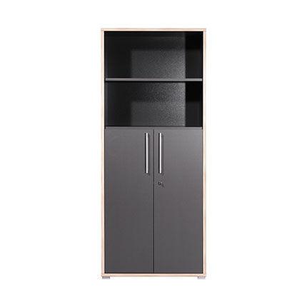 Maisonetstyles Armoire 2 portes et 1 étagère 75x38x182 cm anthracite et chêne - DODY