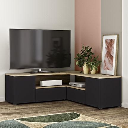 Maisonetstyles Meuble TV d'angle 130x130x46 cm noir et chêne - SQUAR