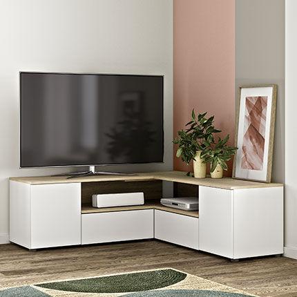 Maisonetstyles Meuble TV d'angle 130x130x46 cm blanc et chêne - SQUAR
