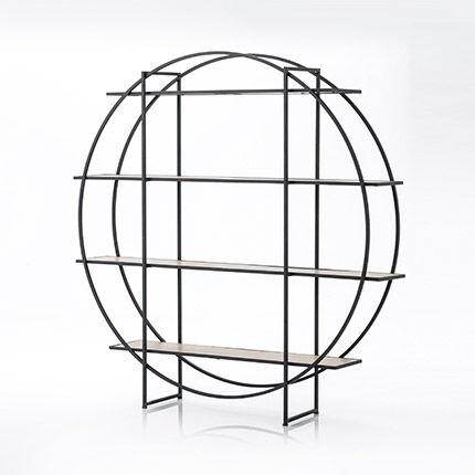 Maisonetstyles Etagère ronde 4 niveaux 140 cm en bois et métal