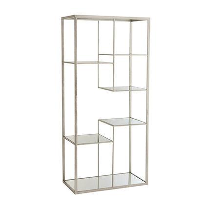 Maisonetstyles Etagère design 82x42,5x177 cm en verre et métal argenté