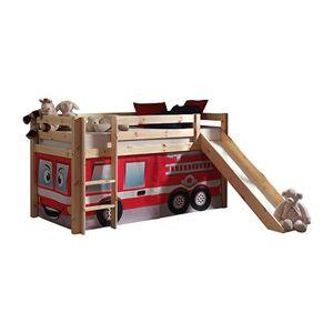 Maisonetstyles Lit surélevé 90x200 cm avec toboggan naturel décor pompier - PINO - Publicité