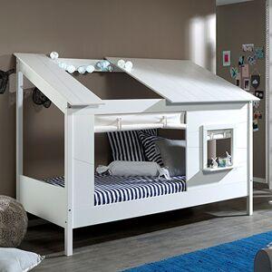 Maisonetstyles Lit cabane 90x200 cm avec rideau de fenêtre blanc - HUTTY - Publicité