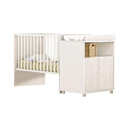Maisonetstyles Lit bébé évolutif 60x120cm en 90x200 cm en pin blanc - FAUSTINE
