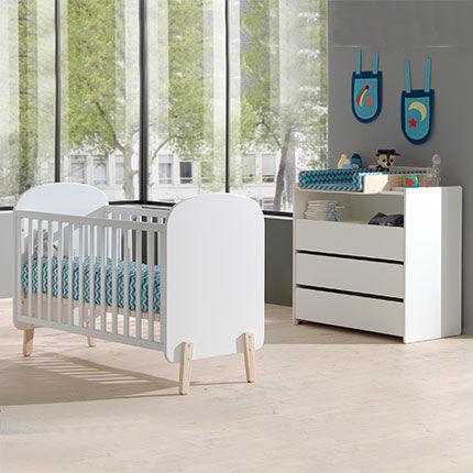 Maisonetstyles Lit bébé 60x120 cm + commode et plan à langer en pin blanc - KIDLY
