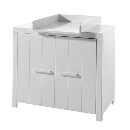 Maisonetstyles Commode 2 portes + plan à langer en pin blanc - VICKY