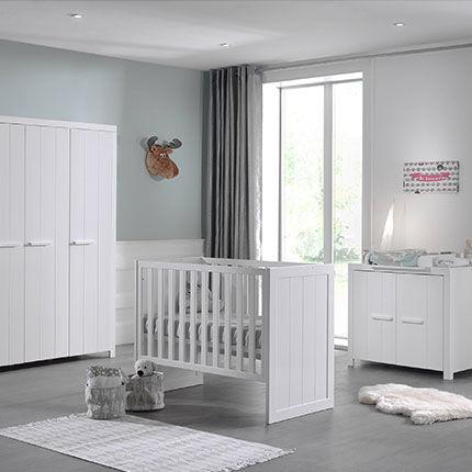 Maisonetstyles Lit bébé + commode + armoire 3 portes en pin blanc - VICKY