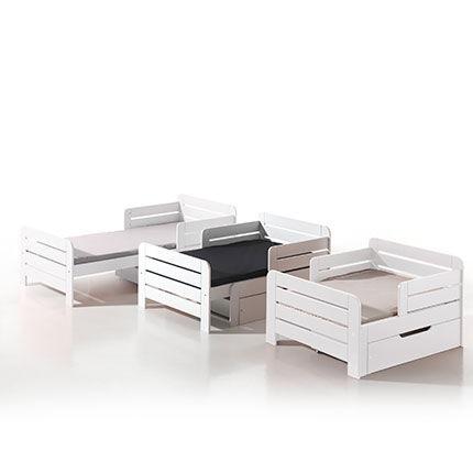 Maisonetstyles Lit enfant évolutif 90x140/160/200 cm + tiroir en pin blanc - JUMPY
