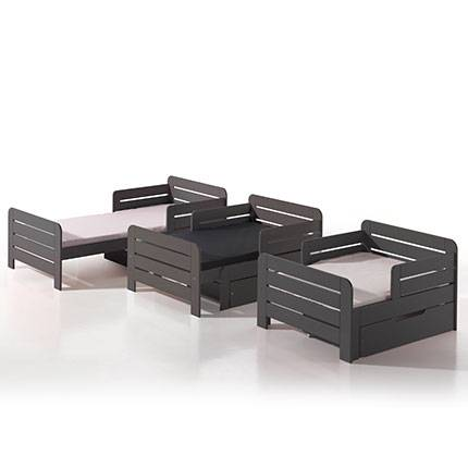 Maisonetstyles Lit enfant évolutif 90x140/160/200 cm + tiroir en pin taupe - JUMPY
