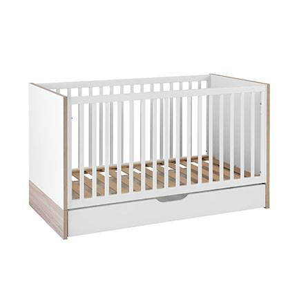 Maisonetstyles Lit bébé évolutif 70x140 cm et tiroir naturel et blanc - PIETRO