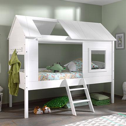 Maisonetstyles Lit maison 90x200 cm en pin massif blanc