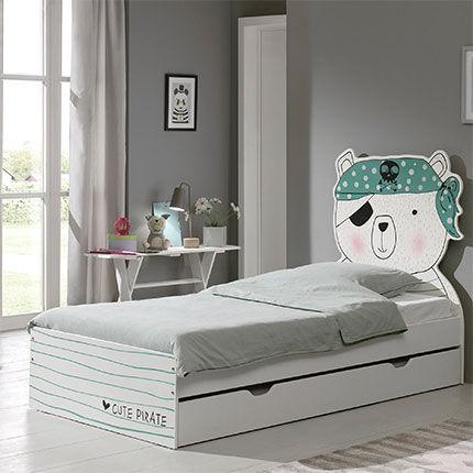 Maisonetstyles Lit enfant 90x200 cm tête de lit pirate avec tiroir - FUNBED