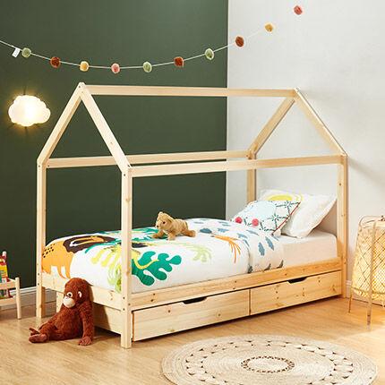 Maisonetstyles Lit enfant cabane 2 tiroirs 90x190 cm en pin naturel - JOZUA