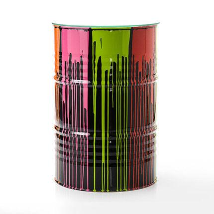 Maisonetstyles Mange-debout tonneau 60x90 cm en métal gris et multicolore