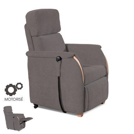 Maisonetstyles Fauteuil de relaxation motorisé - microfibre coloris charbon
