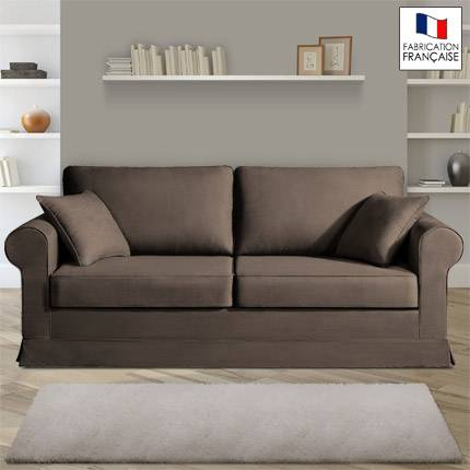 Maisonetstyles Canapé 3 places fixes - 100% coton - coloris chocolat ADELE