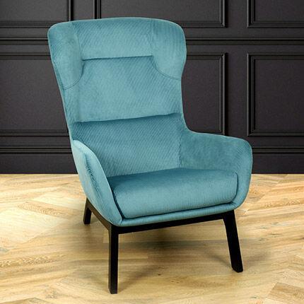Maisonetstyles Fauteuil 92,5x67x96 en tissu velours bleu clair