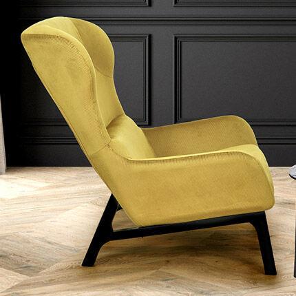 Maisonetstyles Fauteuil 92,5x67x96 en tissu velours jaune moutarde