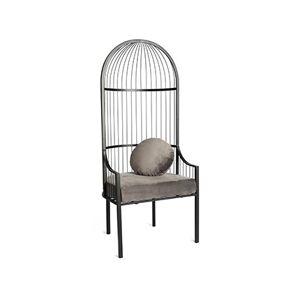 Maisonetstyles Chaise ancienne 68x63x160 cm en tissu gris et métal - Publicité