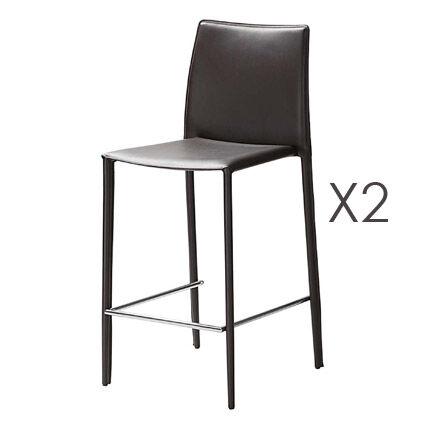 Maisonetstyles Lot de 2 chaises de bar en cuir recyclé coloris marron - BORA BORA