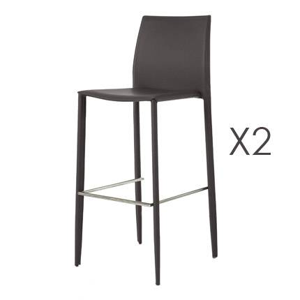 Maisonetstyles Lot de 2 chaises de bar en PU chocolat - BORA BORA