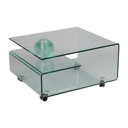 Maisonetstyles Table basse rectangulaire à roulettes en verre trempé - GLASS