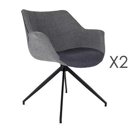 Maisonetstyles Lot de 2 fauteuils repas 67x61x80 cm en tissu gris - DOULTON