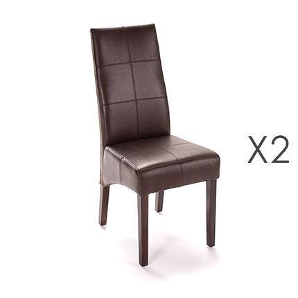 Maisonetstyles Lot de 2 chaises repas café avec tissage caramel patiné