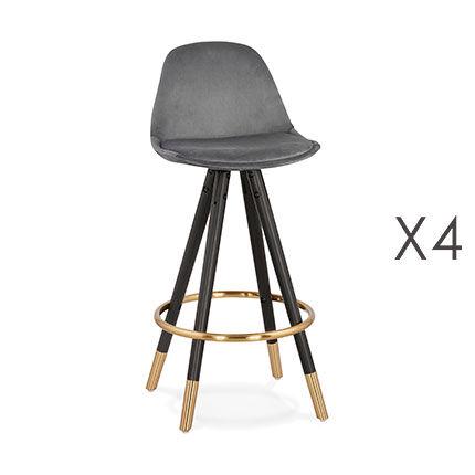 Maisonetstyles Lot de 4 chaises de bar H65 cm gris pieds noirs et dorés - CIRCOS