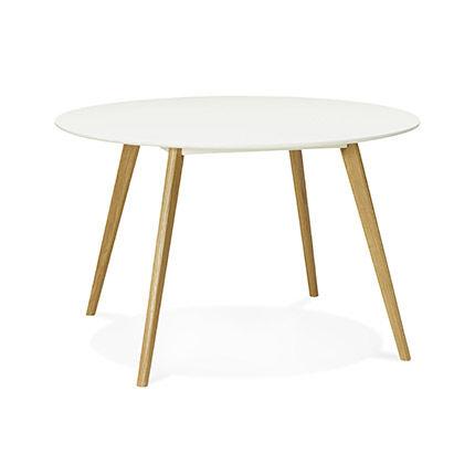 Maisonetstyles Table à manger ronde 120 cm en chêne blanc et naturel - BALTIC