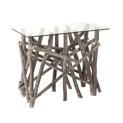 Maisonetstyles Console 96x47x77 cm en verre et bois naturel grisé - NATTY