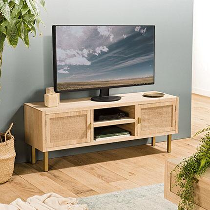 Maisonetstyles Meuble TV 2 portes et 2 niches en toile de jute et métal - ALIZEE